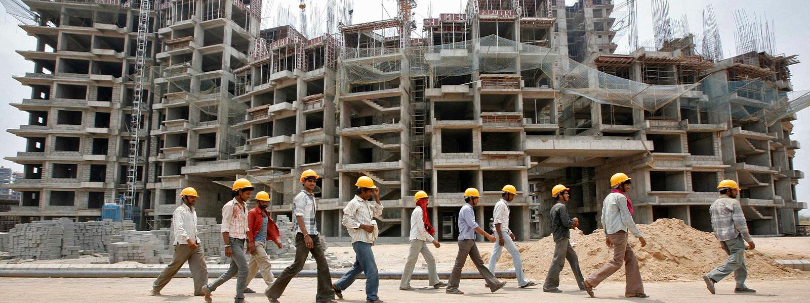 Workers walking