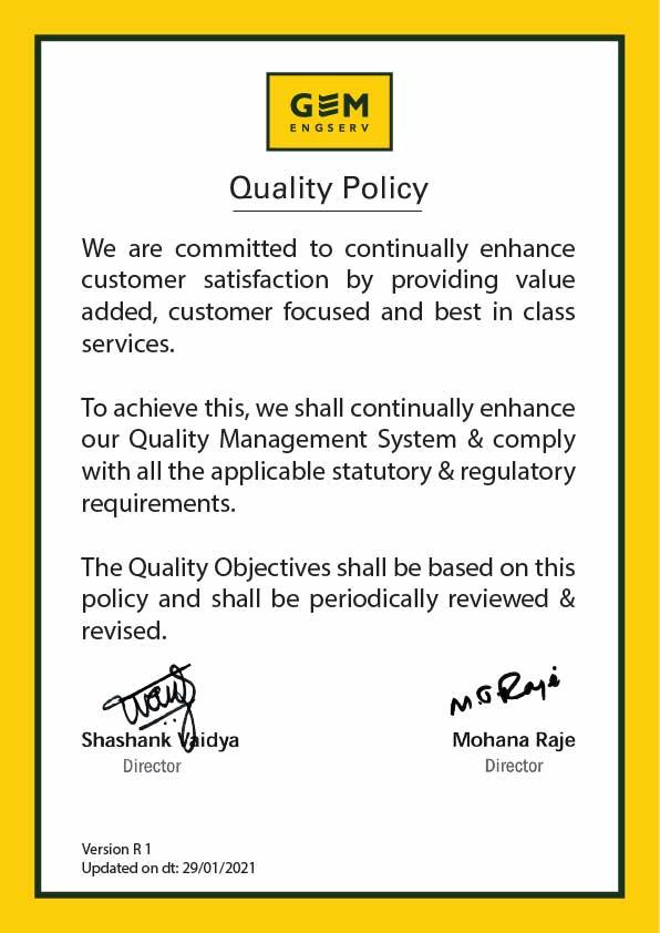 GEM Engserv Quality Policy