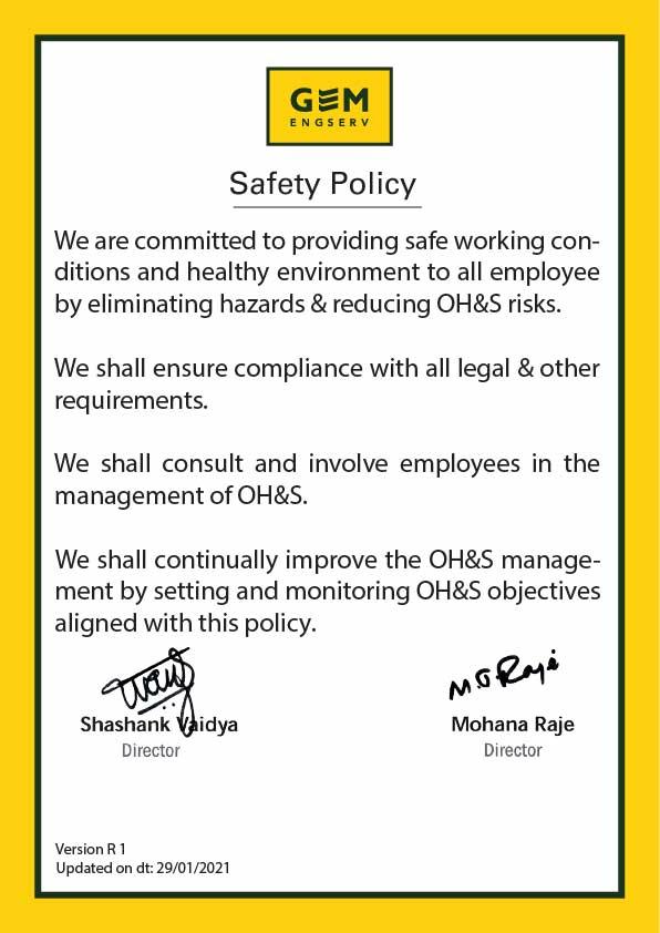 GEM Engserv Safety Policy